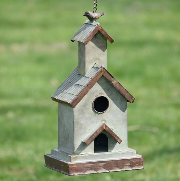Garden Decor - Galvanized Hanging Church Birdhouse