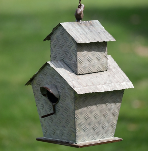 Garden Decor - Galvanized Hanging Two-Tier Birdhouse