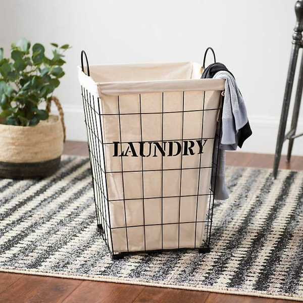 Baskets & Boxes - Metal and Fabric Retro Laundry Bin
