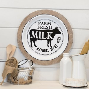 Wood and Metal Farm Fresh Milk Sign
