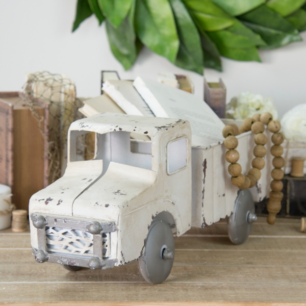 Statues & Figurines - Vintage Distressed White Metal Truck Statue