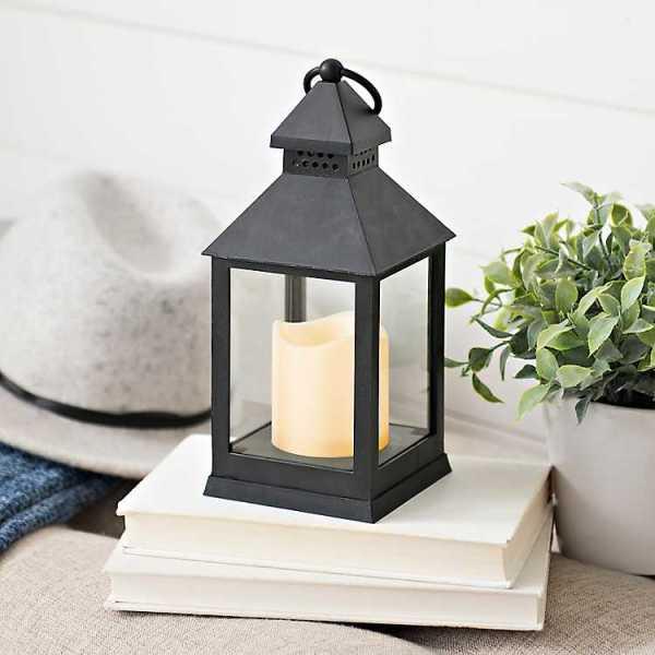 Candle Lanterns - Black Plastic Lantern with LED Candle