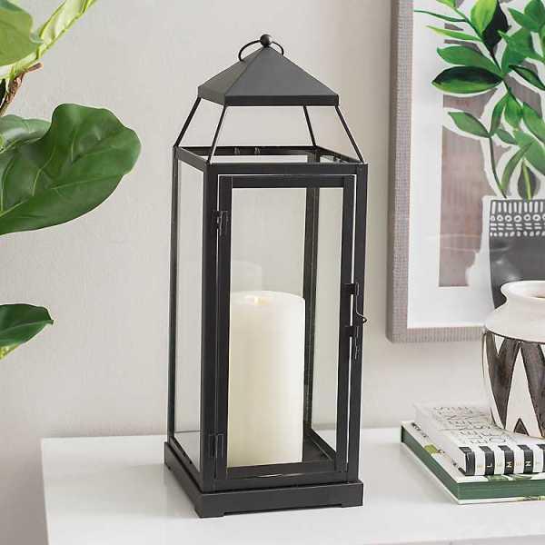 Candle Lanterns - Black Rectangular Metal and Glass Lantern