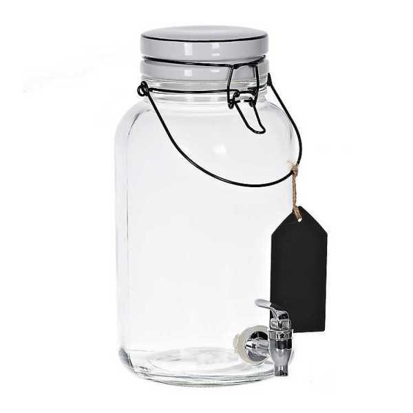 Beverage Dispensers - Black and White Gallon Glass Beverage Dispenser