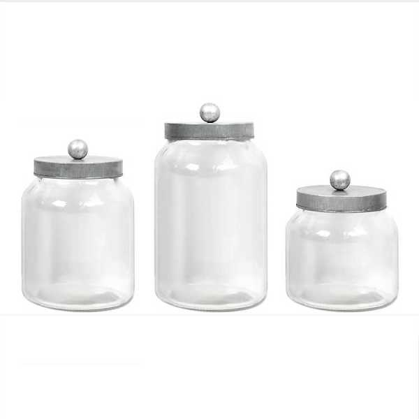 Kitchen Canisters - Glass Canisters with Galvanized Lids