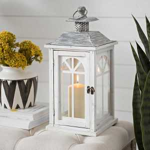 Candle Lanterns - Antique White Danielle Lantern