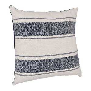 Throw Pillows - Navy Double Stripe Slub Cotton Pillow