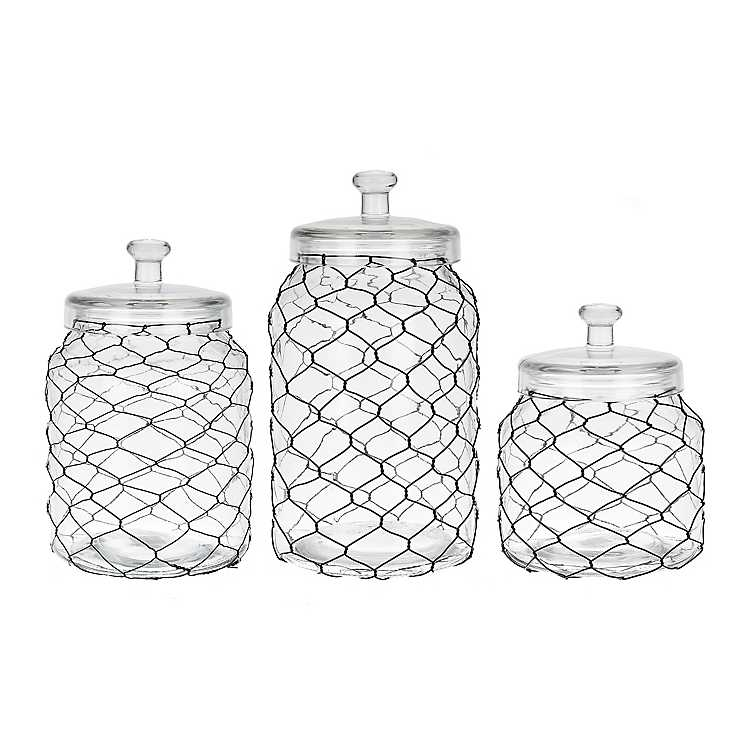 Kitchen Canisters Black Chicken Wire And Glass Canisters Set Of 3 Mocome Decor