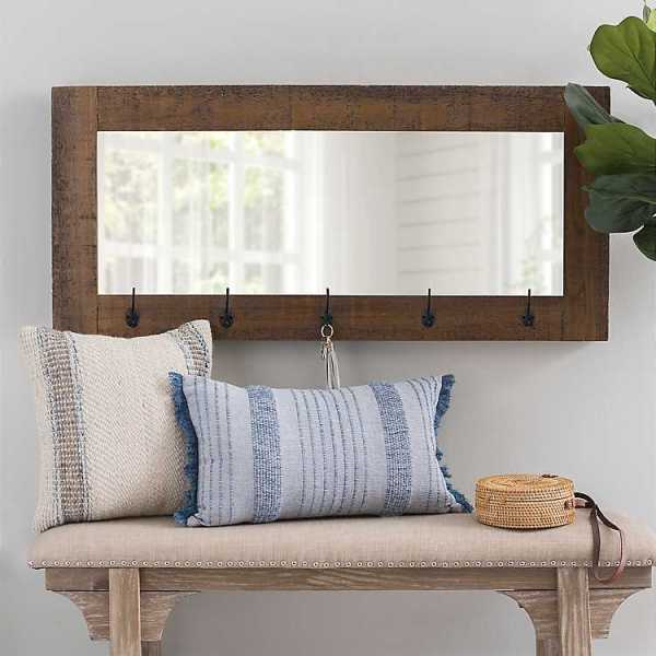 Wall Mirrors - Betsy Wall Mirror with Hooks, 41x22 in.
