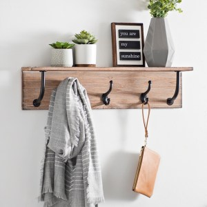 Natural Wood Wall Mount Shelf with Cast Hooks