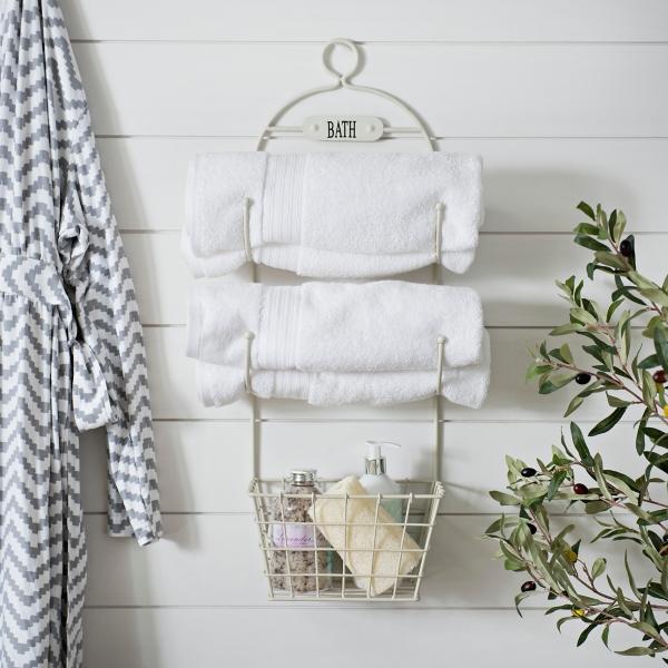 Bathroom Decor - White Metal Bath Organizer