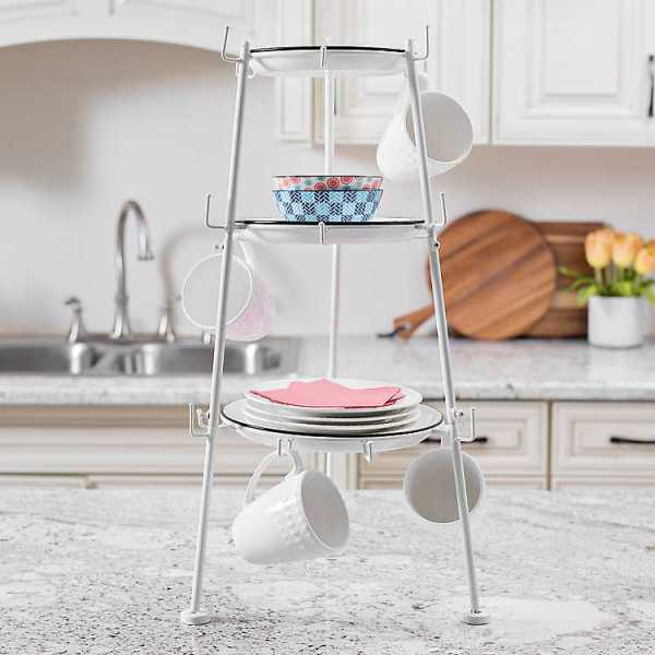 Kitchen Accessories - White Tiered Mug Holder with Shelves