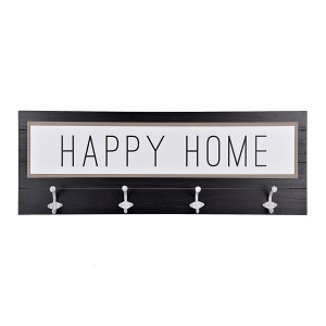 Happy Home Wood Plaque with Wall Hooks