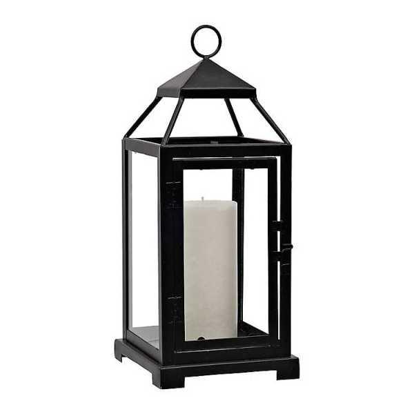 Candle Lanterns - Black Metal Lantern with Opening Door