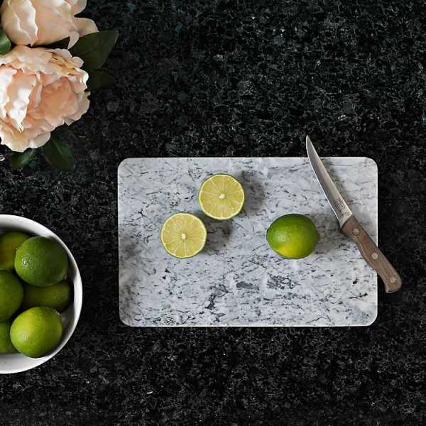 Kitchen Accessories - Gray and White Marble Cutting Board