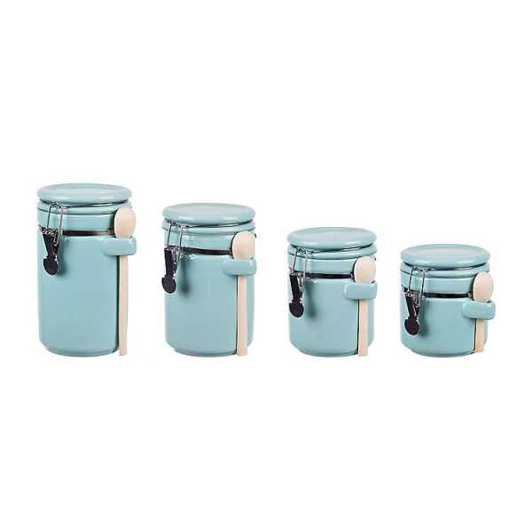 Kitchen Canisters - Turquoise Canisters with Wood Spoons