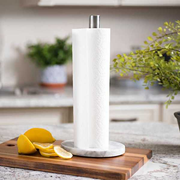Kitchen Accessories - Gray and White Marble Paper Towel Holder