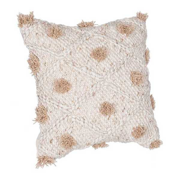 Throw Pillows - Taupe Chunky Knit Pillow with Poufs