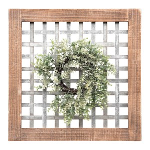 Galvanized Metal Plaid and Greenery Wreath Framed Wall Art