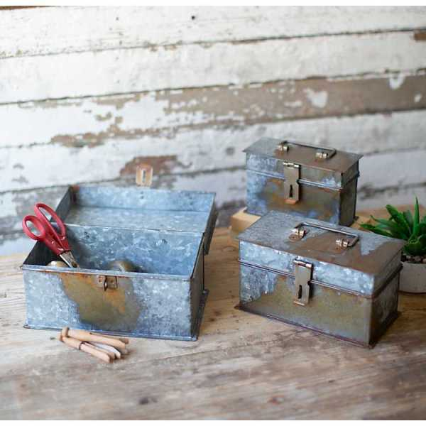 Baskets & Boxes - Rustic Metal Rectangular Boxes with Lids