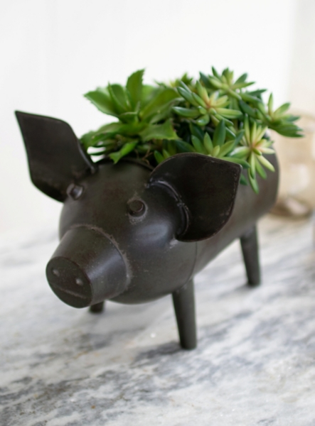 Planters - Antique Green Pig Planter