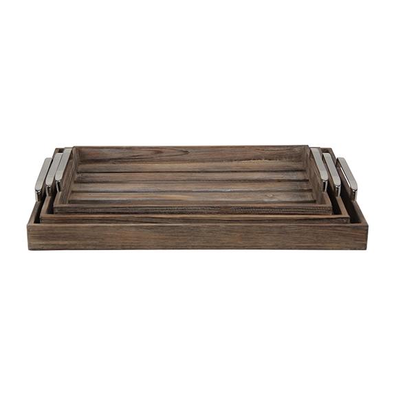 Decorative Trays - Walnut Slatted Wood Trays