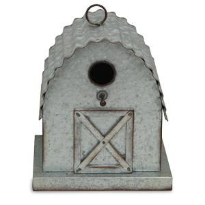 Garden Decor - Metal Barn Hanging Birdhouse