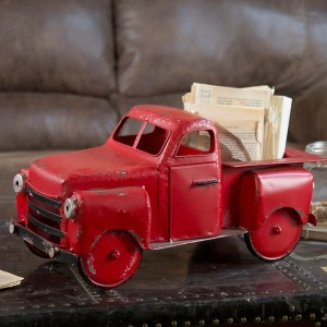 Statues & Figurines - Red Metal Vintage Truck