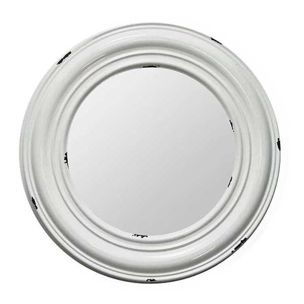 Wall Mirrors - Distressed White Round Enamel Wall Mirror, 25 in.