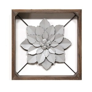 Metal Flower Framed Wall Art Silver