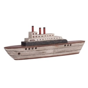 Statues & Figurines - Whitewashed Yacht with Red and Blue Accents