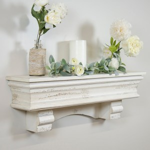 Distressed White Floating Wall Shelf