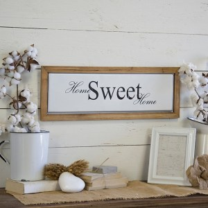 Home Sweet Home Metal with Wood Frame Wall Décor