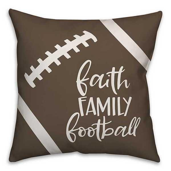 Throw Pillows - Faith Family Football Pillow
