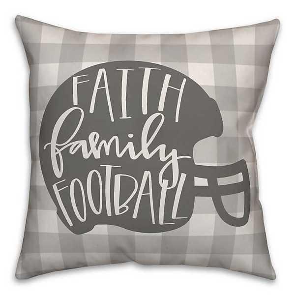 Throw Pillows - Buffalo Check Faith Family Football Pillow