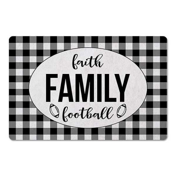 Kitchen Mats - Buffalo Check Faith Football Family Floor Mat