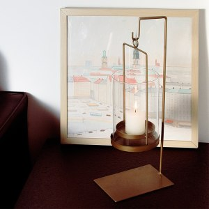 Brass and Glass Hanging Decorative Hurricane Candle Holders with Stand