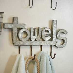 Galvanized Metal Towels Wall Hooks