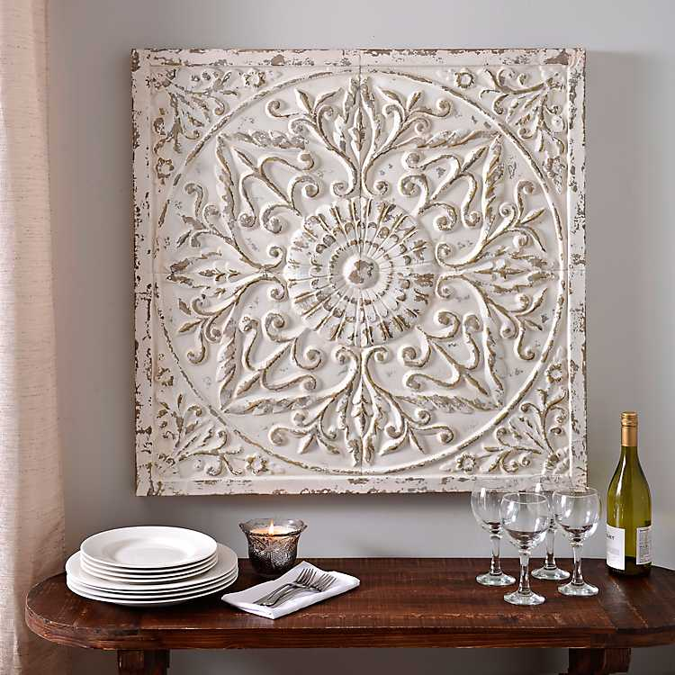 Medallion Distressed Cream Embossed Metal Tile Wall Art ...
