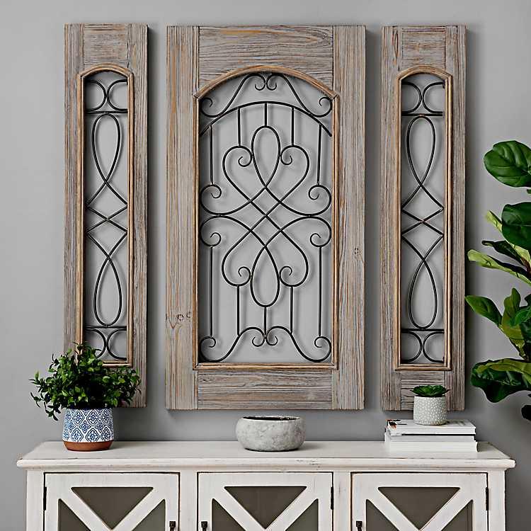Scroll Panel Wood/Metal Wall Decor, Set of 3 - Mocome Decor