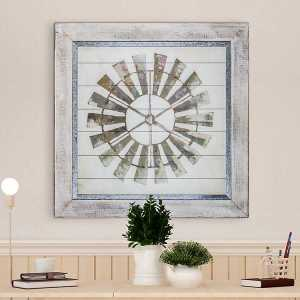 Whitewashed Windmill Shiplap and Metal Framed Wall Art