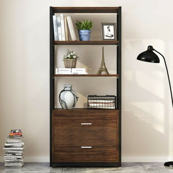 simone-4-tier-shelf-and-2-tier-drawers-standard-bookcase