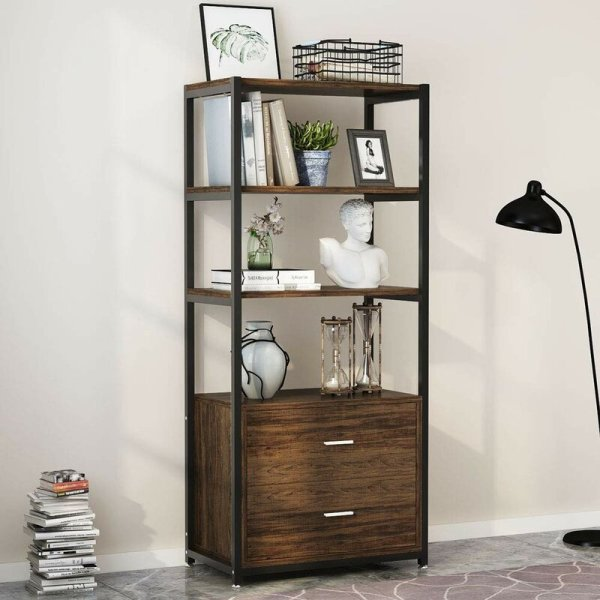 simone-4-tier-shelf-and-2-tier-drawers-standard-bookcase1