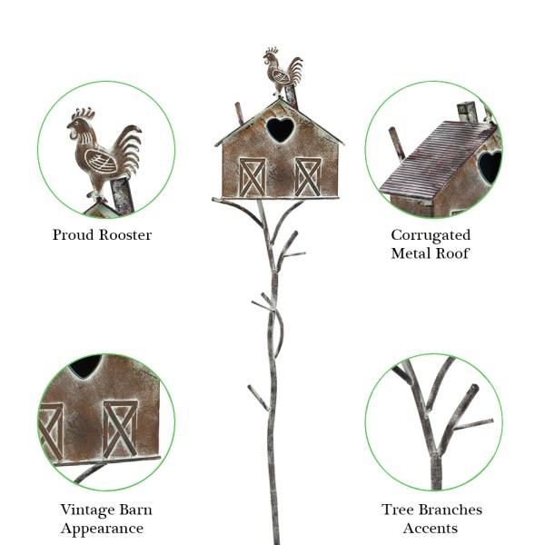 Rustic Farmhouse Barn Design Birdhouse Garden Stakes 55 Inch Partial details