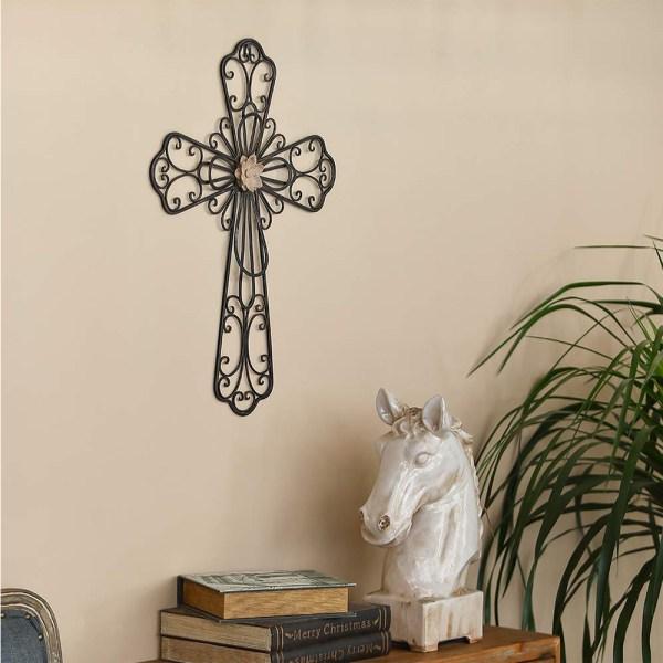 Large Rustic Metal Flower Type Cross Wall Decor Real Shot 2