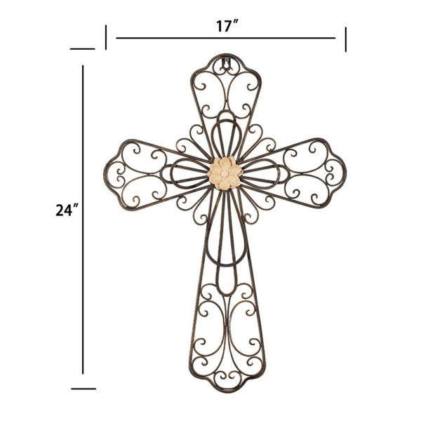 Large Rustic Metal Flower Type Cross Wall Decor Dimensional Drawings