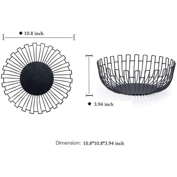 Large Black Metal Wire Fruit Baskets Decor Dimensional Drawings