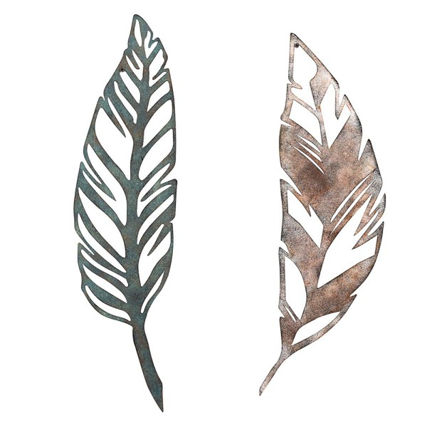 Home Antique Feather Wall Decor and Leaf Wall Decor