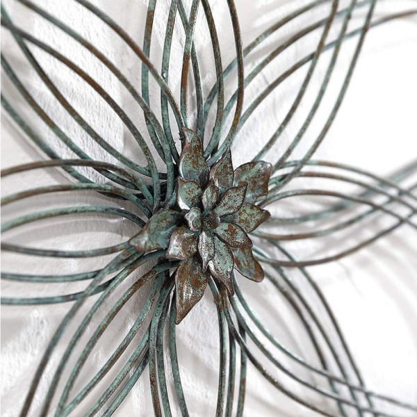 Rustic Iron Flower Wall Decor Partial details 3