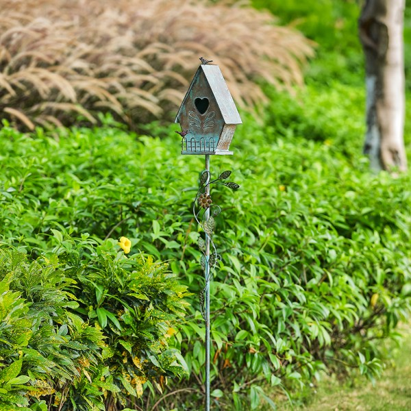 Tall Distressed A-Style Birdhouse Garden Stakes 57 Inch Real Shot 2